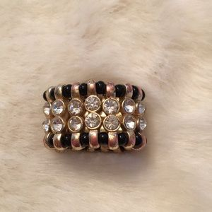 Jewelry - Gold Black and Rhinestone Stretch Cocktail Ring